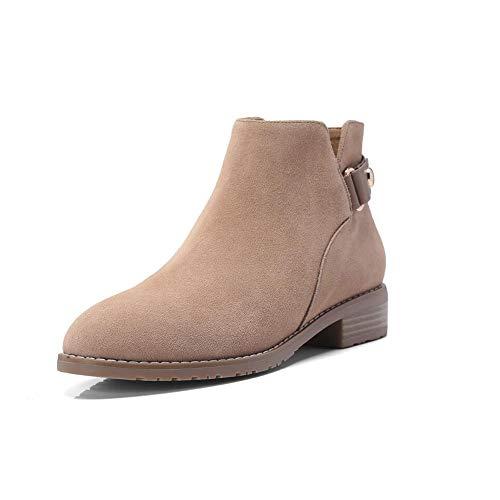 Laarzen XIAOLIN Womens Chunky gestapelde lage hak enkellaarsjes zijrits westerse schoenen Martin