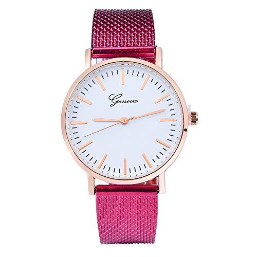 JZDH Relojes para Mujer Reloj clásico de la Pulsera de la Pulsera del Reloj de la Pulsera del Gel de la sílice de la Mujer Relojes Decorativos Casuales para Niñas Damas (Color : Hot Pink)