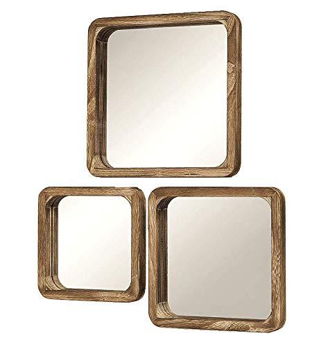 Meinposten. 3er Set Spiegel Holzrahmen Wandspiegel Holzspiegel Natur braun 25x25 30x30 35x35 cm