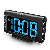 Plumeet Despertador Electrónico, Reloj Despertador LED con Brillo y Volumen Ajustables, Despertador Digital de Cabecera con Interfaz USB y Fácil de Usar (Azul Claro)