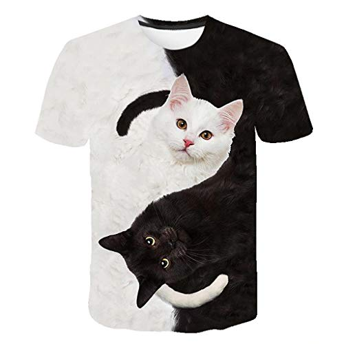 Kinder T-Shirts Casual 3D Schwarze und Weiße Katze Drucken Tops Short Sleeve O-Neck Oberteile für Mädchen Junge, Weiß, 8-9 Jahre
