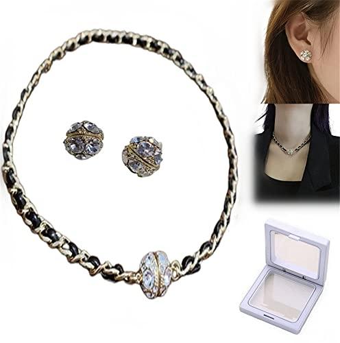 TTCPUYSA Elegante Collar magnético, Collar de Cuero Negro Tejido magnético, Collar Creativo de magnetita, para Novia, Esposa, Hija, mamá, Regalos de año Nuevo (Pendientes + Collar)