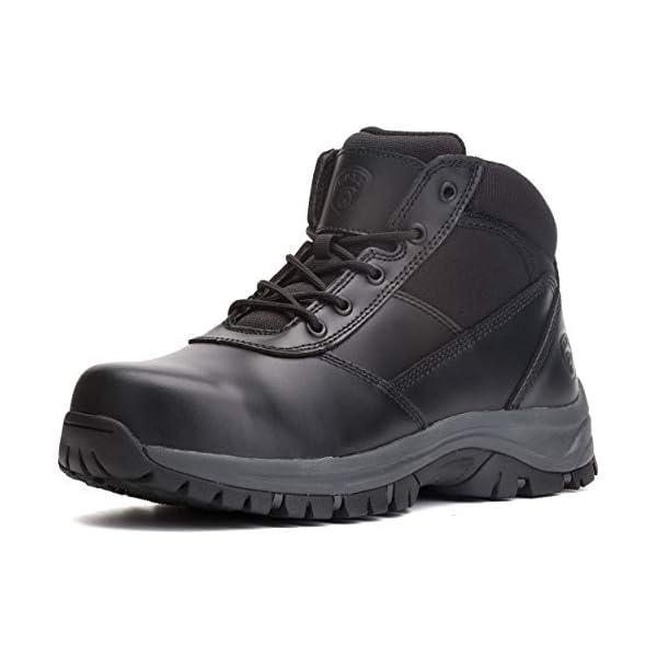OUXX Work Boots for Men, Steel Toe Side Zipper Slip Resistant Men's Safety Construction Shoes