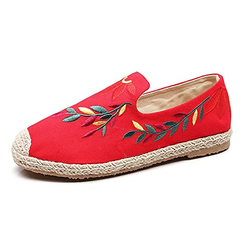Jskdzfy Ladies embroidered shoes Women Canvas Embroidered Espadrilles Flat Shoes Handmade Bohemian Ladies Comfort Slip On Linen Cotton Embroidery Loafers (Color : Red, Size : 4)
