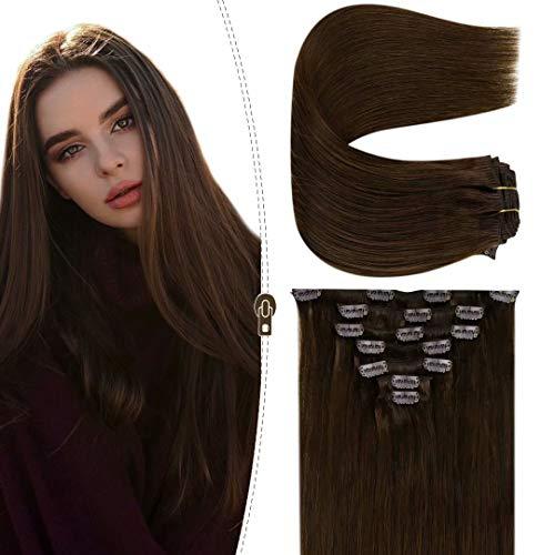 "LaaVoo Clip in Hair Extensions Dark Brown Natural Human Hair 18"" 120g/7pcs Brown Clip in Extension 100% Real Remy Human Hair Silky Soft Clip on Hair Extensions Double Weft"
