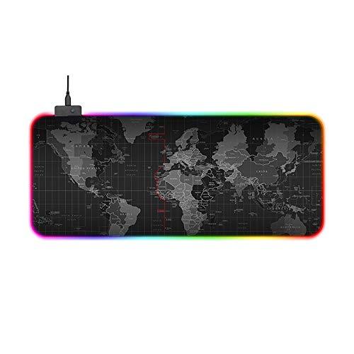 LaLa POP Luminosa Extended Gaming Mouse Pad - Portátil Escritorio Amplio Pad - Base De Goma Antideslizante Resistente Al Agua, Mapa del Mundo, El Ratón del Juego del Cojín del Cojín del Teclado.
