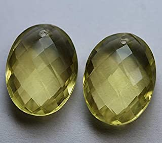 Jewel Beads Natural Beautiful jewellery 2 Pcs,Front Drilled,Natural Lemon Quartz Faceted Oval Shape Briolettes,20x15mm size,Code:- JBB-29610
