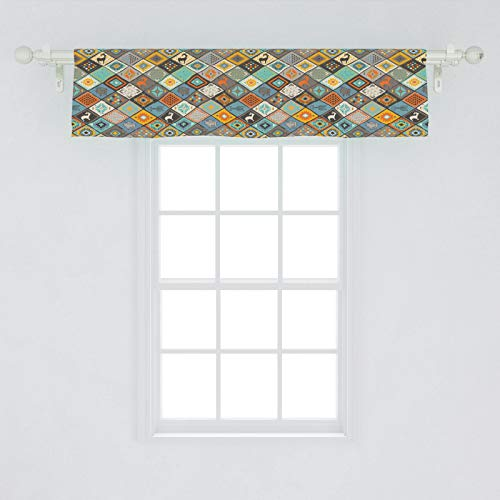 Lunarable Ethnic Window Valance, Southwestern Pattern with Rhombus Pattern and Indigenous Motifs Boho Style, Curtain Valance for Kitchen Bedroom Decor with Rod Pocket, 54' X 12', Multicolor