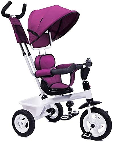 GCXLFJ Triciclo Bebe Cabrito al Aire Libre Triciclo,Niños 4 en 1 Ajustable Parasol triciclos,1-6 años Edad niñas triciclos Regalo de cumpleaños,púrpura