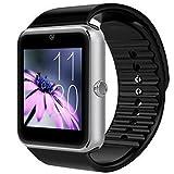 Unisex Reloj Inteligente, GT08 Pulsera con Moda Pantalla Táctil Bluetooth con Cámara/Ranura para Tarjeta SIM/Análisis de Podómetro para Android (Funciones Completas) y para iOS (Funciones Parciales)