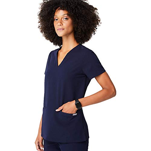 FIGS Medical Scrubs Women's Casma Three-Pocket Scrub top (Navy Blue, S)