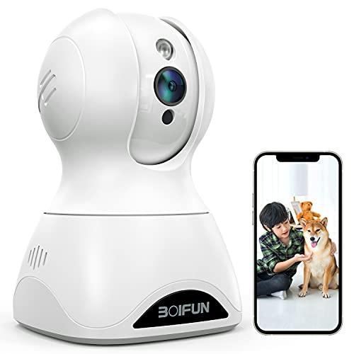 2021最新強化モデル500万画素BOIFUNネットワークカメラ ペットカメラ 1944P IP wifiカメラ 室内スマートカメラ 防犯監視カメラ ベビーモニター ワイヤレス スマホ iPad パソコン対応 超広角 遠隔スマホ操作 暗視機能強化 双方向音声 AI知能 自動フォロー 顔検知 動体検知 音声検知 警報通知 全日録画 猫 犬 子供 老人見守りカメラ 天井 技適認証済み alexa対応 2.4G 3年保証