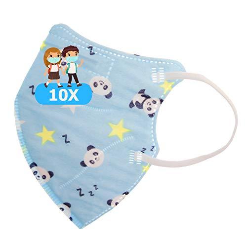 TBOC Mascarillas FFP2 Infantiles [Pack 10 Unidades] Desechables para Niños [Azul Oso Panda] Cinco Capas [No Reutilizables] Transpirables Plegables con Pinza Nasal [Certificadas y Homologadas]