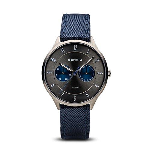 BERING Herren Analog Quarz Uhr mit Stoff Armband 11539-873