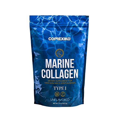 Marine Collagen Peptides Powder by Correxiko | Hydrolyzed Collagen Supplement for Joints, Skin, Hair, Nails and Digestion | Made in Canada from Wild-Caught Deep Sea Fish (15 oz)