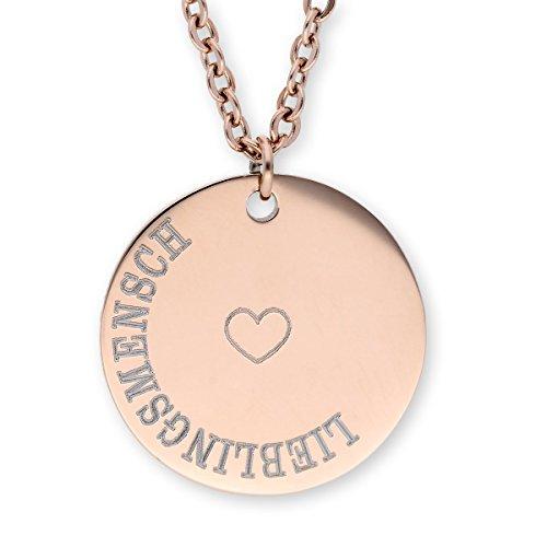 URBANHELDEN - Damen-Kette mit rundem Motiv Anhänger - Hals Kette Amulett - Edelstahl - Gravur Herz Lieblingsmensch Rosegold