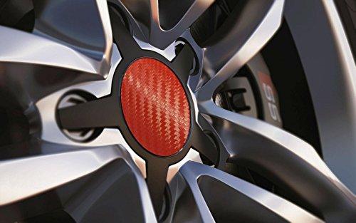 Standard universel 55 mm Centre de roue en alliage Cap badges, Rouge carbone