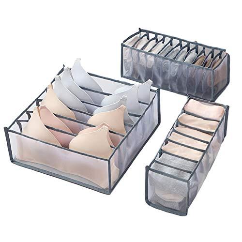 Rich-home Schubladen Organizer, 3er-Set Unterwäsche, Socken, BH Schubladen Aufbewahrung organisieren, Schrank Aufbewahrungsbox mit Trennwänden, Netzmaterial, waschbar