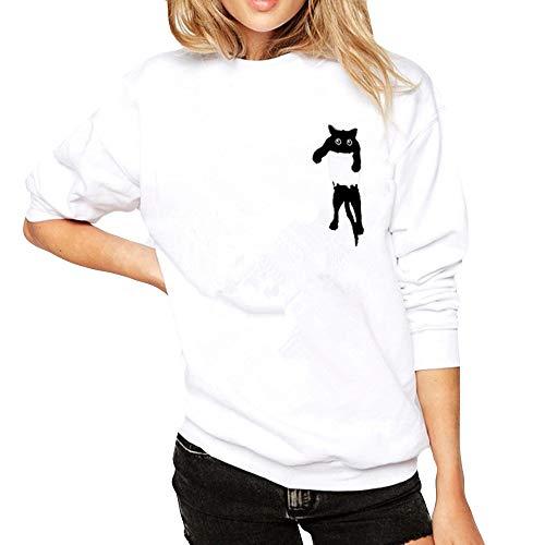 Coloré(TM Sweatshirt Femme Pullover Printemps Automne Couture Sweats Manches Longues Chat imprimé Casual Tops Sweats Sweat-Shirt Blouse de Sport (Blanc, M)