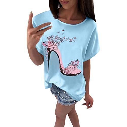 OVERDOSE Frauen Kurzarm Blumen Pumps Gedruckt Tops Strand Beiläufige Lose Bluse Top T-Shirt (EU-40/CN-L, X-d-blau)