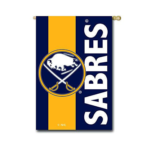 Team Sports America NHL Buffalo Sabres Embroidered Logo Applique House Flag, 28 x 44 inches Indoor Outdoor Double Sided Decor for Hockey Fans