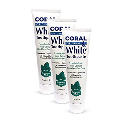 Coral White - Coral White Mint Toothpaste Natural Fluoride SLS Free Coral Calcium Remineralizing Toothpaste (3 Pack)