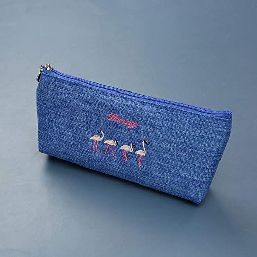 Pencil Box Solid Color Pen Bag Cartoon Embroidery Large Capacity Oxford Cloth Cover Student,Flamingo