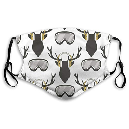 Waschbarer Mundschutz Anti-Staub-Gesichtsschutz,Lustiger Reideer des Weihnachtshirsches im Kopfhörer-Ski-Snowboardbrille,Wiederverwendbar winddicht für Outdoor-Ski Radfahren Camping Laufen