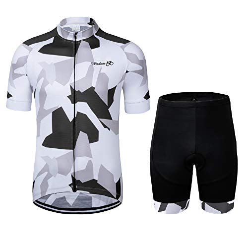 Men's Cycling Jersey Set Short Sleeve MTB Jersey Road Bike Clothing Shirts Shorts with 3D Padded...