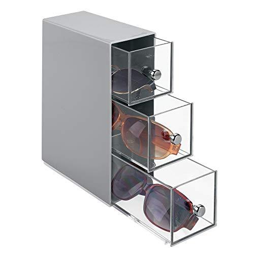 mDesign Caja para gafas de sol – Cajoneras de plástico para lentes con 3 cajones – Organizador de armarios para gafas, gafas de sol y gafas de lectura – gris/transparente