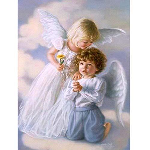 MXJSUA DIY 5D Kit de Pintura de Diamantes,DIY 5D Diamond Painting para niños diseño de ángel de bebé Bordado de Punto de Cruz, para Manualidades, decoración de la Pared del hogar, 30 x 45 cm