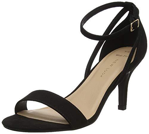 New Look Wide Foot Trinny, Zapatos de tacón con Punta Abierta, Negro Negro 1, 35 EU