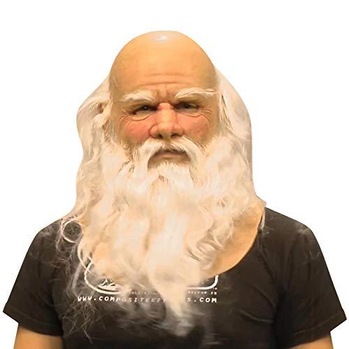FSFG Santa Claus Decoración Realista Headgear Navidad Holiday Divertido Msk Super Suave Santa Adulto