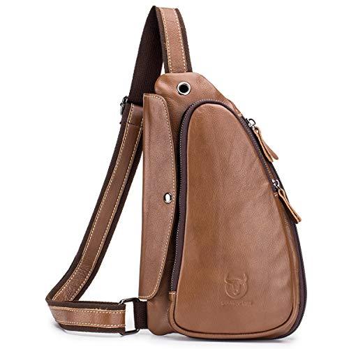 BULLCAPTAIN Anti-theft Sling Bag Travel Crossbody Backpack Genuine Leather Slim Multipurpose Outdoor Chest Bag XB-125 (Brown)