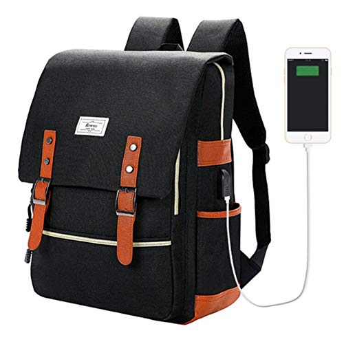 Ronyes Vintage Laptop Backpack College School Bag Bookbags for Women Men 15.6 Laptop Casual Rucksack Water Resistant School Backpack Daypacks with USB Charging Port (Black)