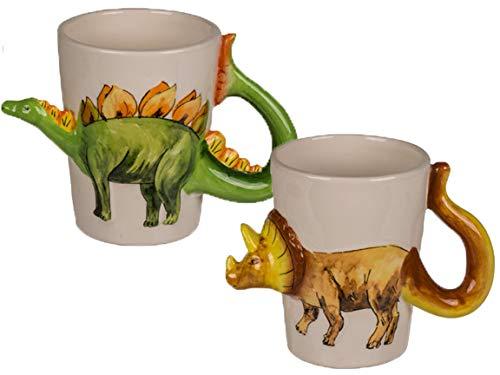 Bada Bing 2er Set Dino Tasse 3D Dinosaurier Ca. 250 ml Füllmenge Kinderbecher mit Kindermotiv T-Rex Triceratops Stegosaurus Raptor Geschenk 19