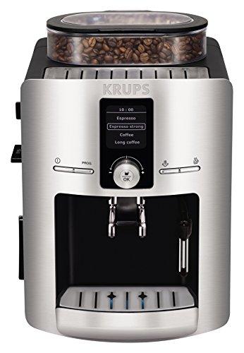 Krups Cafetera EA826E52 Espresso Full Automática, Display Digital para selección de funciones y Programable con sistema de auto encedido y apagado, Color Gris Plata