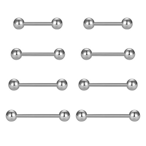 vcmart Nipple Rings Tongue Rings Stainless Steel Straight 14G Barbells Piercing Jewelry Silver 12mm,14mm,16mm,18mm