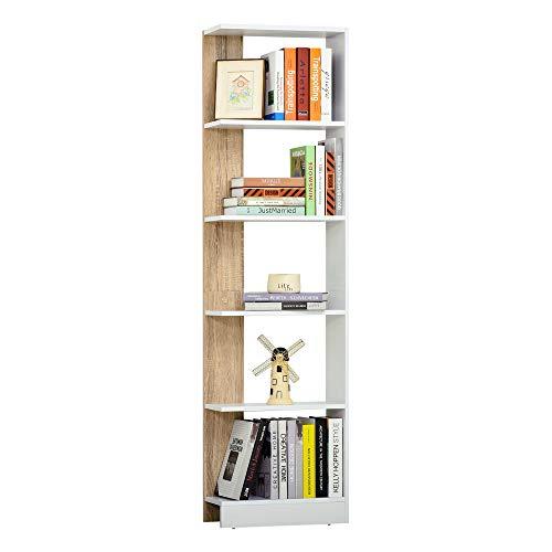 HOMCOM Estantería de Almacenaje con 5 Estantes Librería Multiusos para Estudio Oficina con Base Elevada Diseño Elegante 45x21x170 cm Blanco y Roble