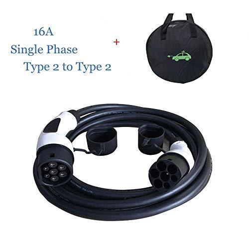K.H.O.N.S. EV Cable de Carga para Vehículo Eléctrico Tipo 2 a Tipo 2 Trifásico16A IEC62196-2, 11KW(3 Fase), TUV&CE, 5M Cable con Bolsa