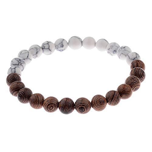 Leuchtbox Braccialetto portafortuna per uomo e donna unisex con perle di legno e pietre naturali marmorizzate fascia elastica bianca
