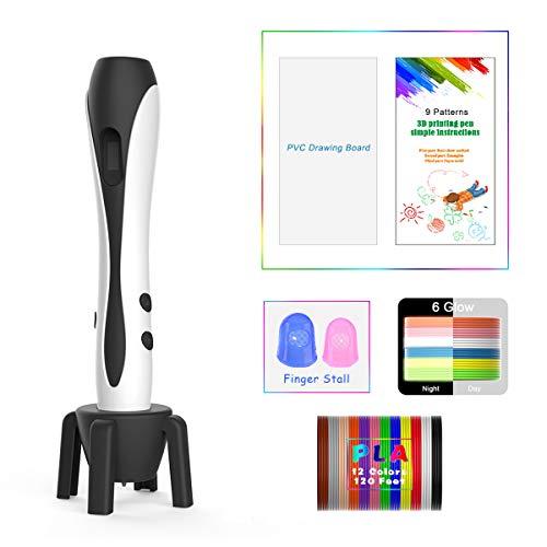 Penna 3D Bianca con Display LCD, Motore Militare, 2 Dita, 9 Stencil di Carta, 12 Colori PLA, 1 Portapenne/Compatibile con Filamenti PLA & ABS/JIAMA JM-B661