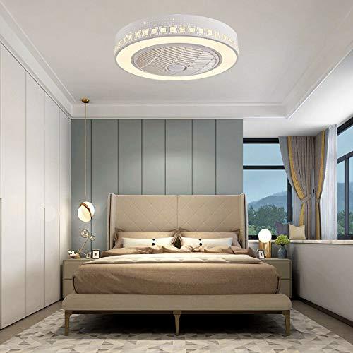 Ventilador de techo y luz de 23 pulgadas, con mando a distancia, moderna lámpara LED de araña, luz de ventilador de acrílico + metal extraíble, lámpara de techo LED