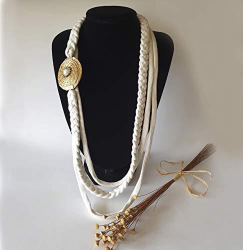 Collar con medallón en ORO VEGETAL con detalle de perla y strass tipo Swarovski y triple trapillo - Original y diferente - Hecho a mano