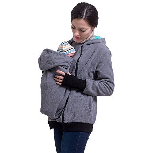 M&M Mymoon Damen Tragejacke Baby 3 in 1 Kapuzenpullover Tragetuch Beide Reißverschluss Sweatshirt Langarm Warm Tragepullover (Grau, 40/42)