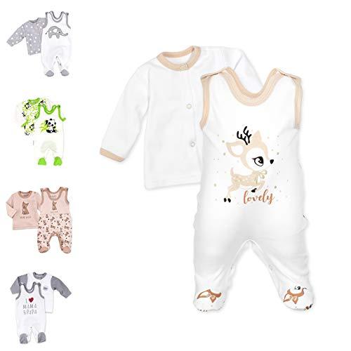 Baby Sweets 2er Strampler Set & Shirt für Mädchen und Jungen Verschiedene Größen, Beige Braun - Lovely Deer, 1 Monat (56)