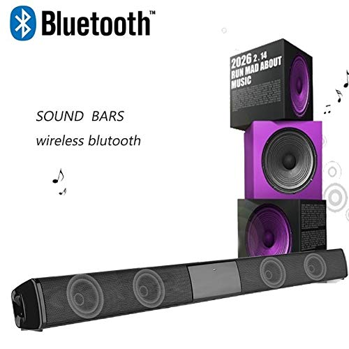 Reboundfive 550mm Draadloze Bluetooth Soundbar Hi-Fi Stereo Speaker Home Theater TV Sterke Bass Sound Bar Subwoofer met/Zonder Afstandsbediening Upgrade(550) & Afstandsbediening