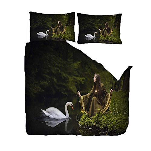 PANDAWDD Duvet Quilt Cover Set - Poly Cotton 220x260cm Forest woman and swan Bedding Set With Matching Pillowcases- Easy Care Machine Washable - Durable | Single Double King Super King Bed Size