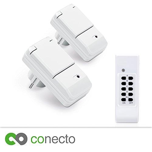 conecto Funksteckdosen Komplett Set Starterkit für Außenbereich IP44 (4-Kanal, Selbstlern-Funktion, 2X Outdoor Funksteckdose, 1x Fernbedienung) weiß