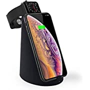 ASPECTEK Wireless Charger 10W Fast Wireless Charging Stand Qi-Certified Compatible iPhone Xs Max/XR/XS/X/8/8 Plus, Galaxy S9/S9+/S8/S8+/Note 8, Charger Holder for Apple Watch Series 2, 3,4